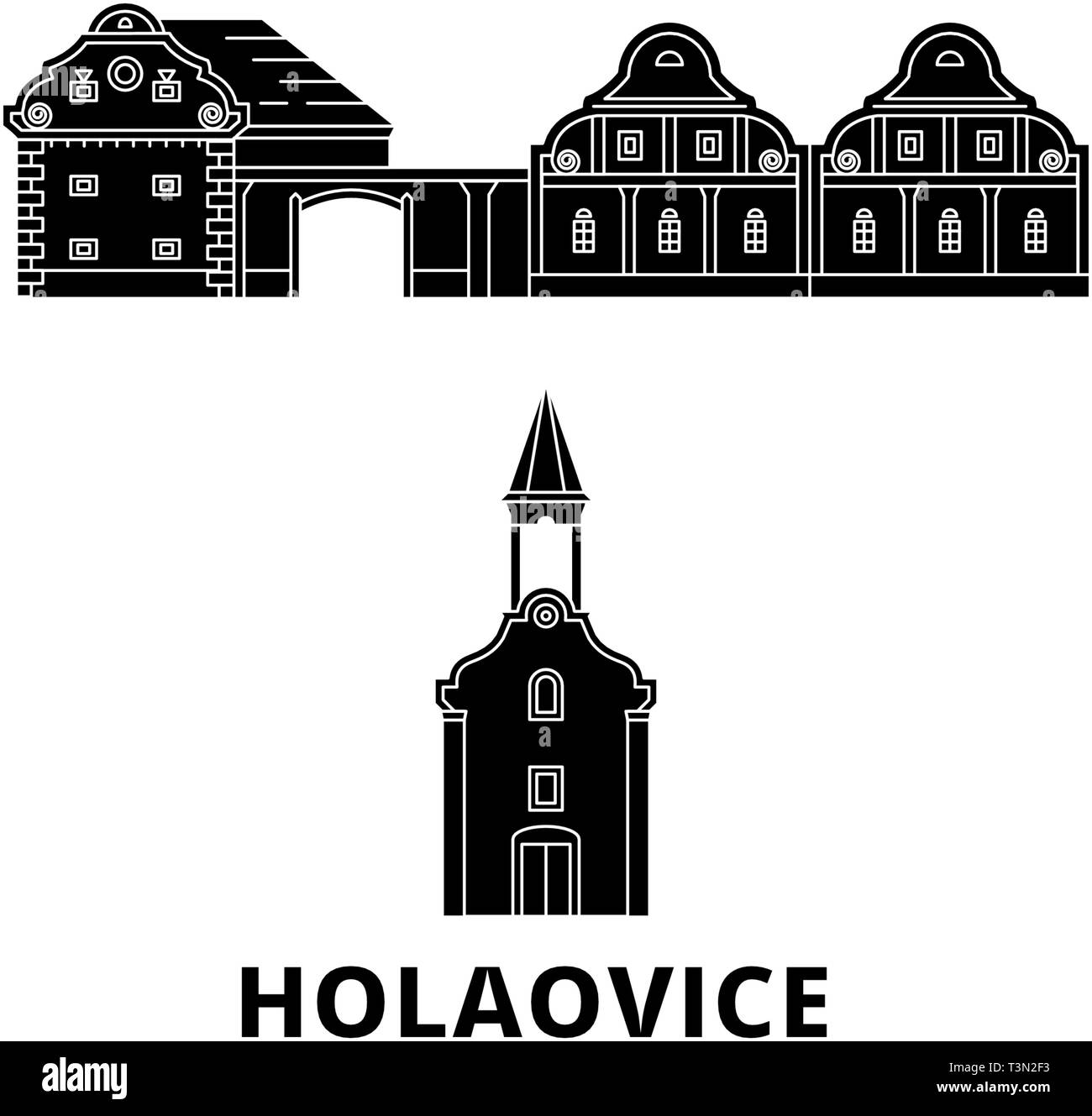 Czech Republic, Holasovice flat travel skyline set. Czech Republic, Holasovice black city vector illustration, symbol, travel sights, landmarks. - Stock Image