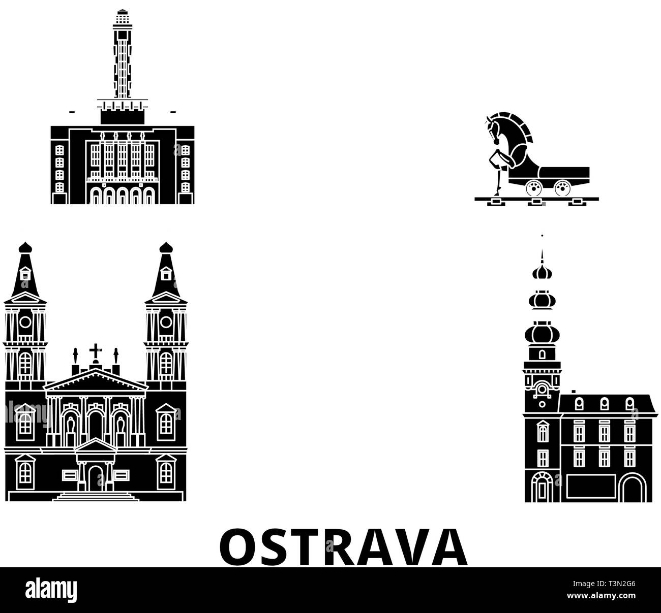 Czech Republic, Ostrava flat travel skyline set. Czech Republic, Ostrava black city vector illustration, symbol, travel sights, landmarks. - Stock Image