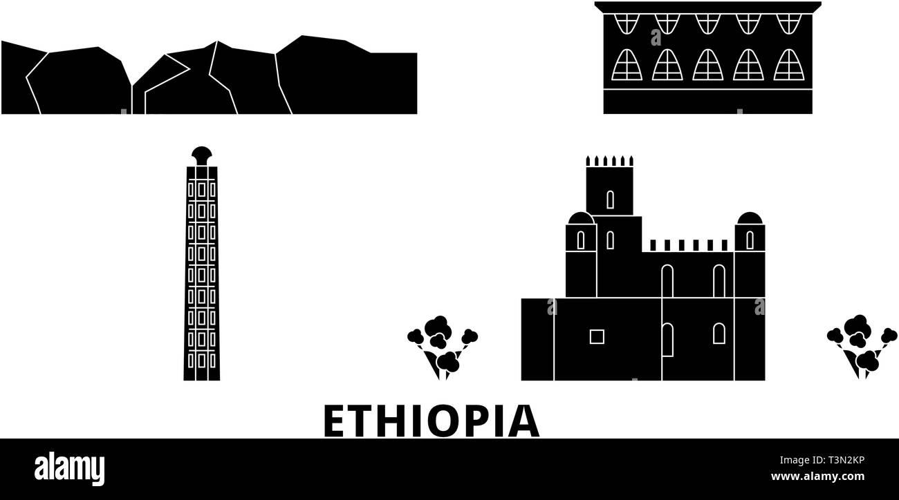 Ethiopia flat travel skyline set. Ethiopia black city vector illustration, symbol, travel sights, landmarks. - Stock Vector