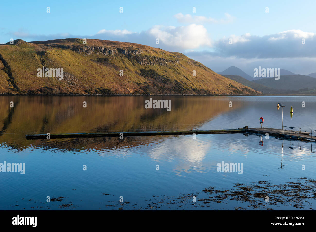 Empty pontoons at Carbost yacht anchorage on Loch Harport on Isle of Skye, Highland Region, Scotland, UK - Stock Image
