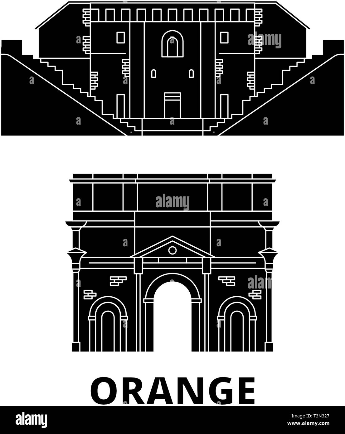 France, Orange  flat travel skyline set. France, Orange  black city vector illustration, symbol, travel sights, landmarks. - Stock Vector