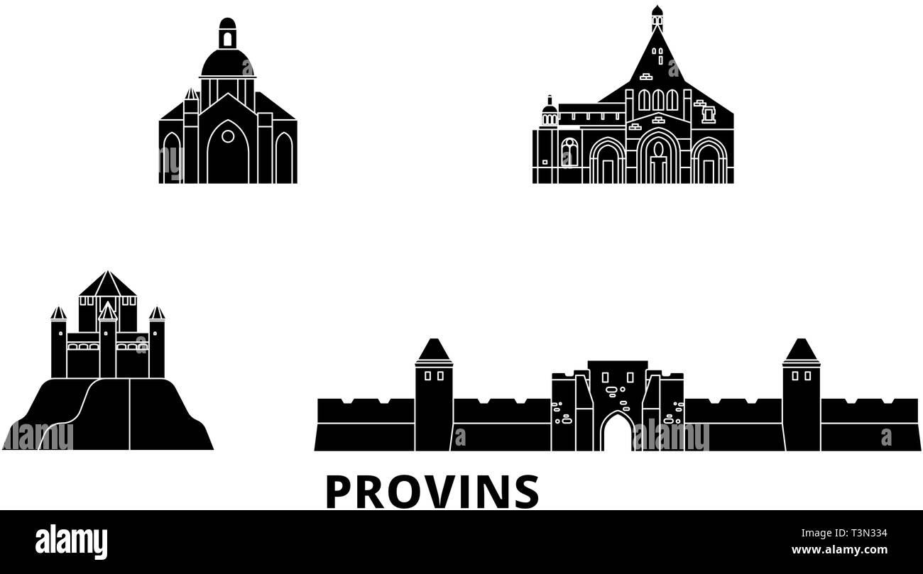 France, Provins flat travel skyline set. France, Provins black city vector illustration, symbol, travel sights, landmarks. - Stock Vector