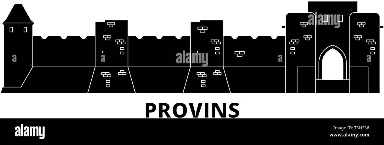 France, Provins Landmark flat travel skyline set. France, Provins Landmark black city vector illustration, symbol, travel sights, landmarks. - Stock Vector
