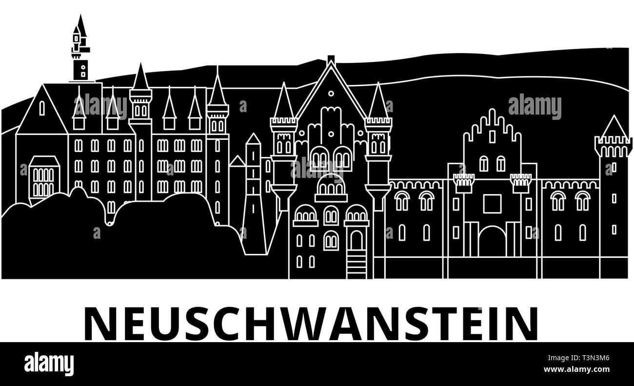 Germany, Neuschwanstein flat travel skyline set. Germany, Neuschwanstein black city vector illustration, symbol, travel sights, landmarks. - Stock Image