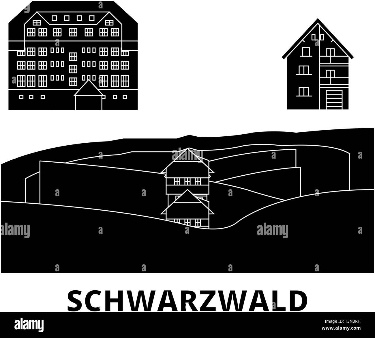 Germany, Schwarzwald flat travel skyline set. Germany, Schwarzwald black city vector illustration, symbol, travel sights, landmarks. - Stock Vector