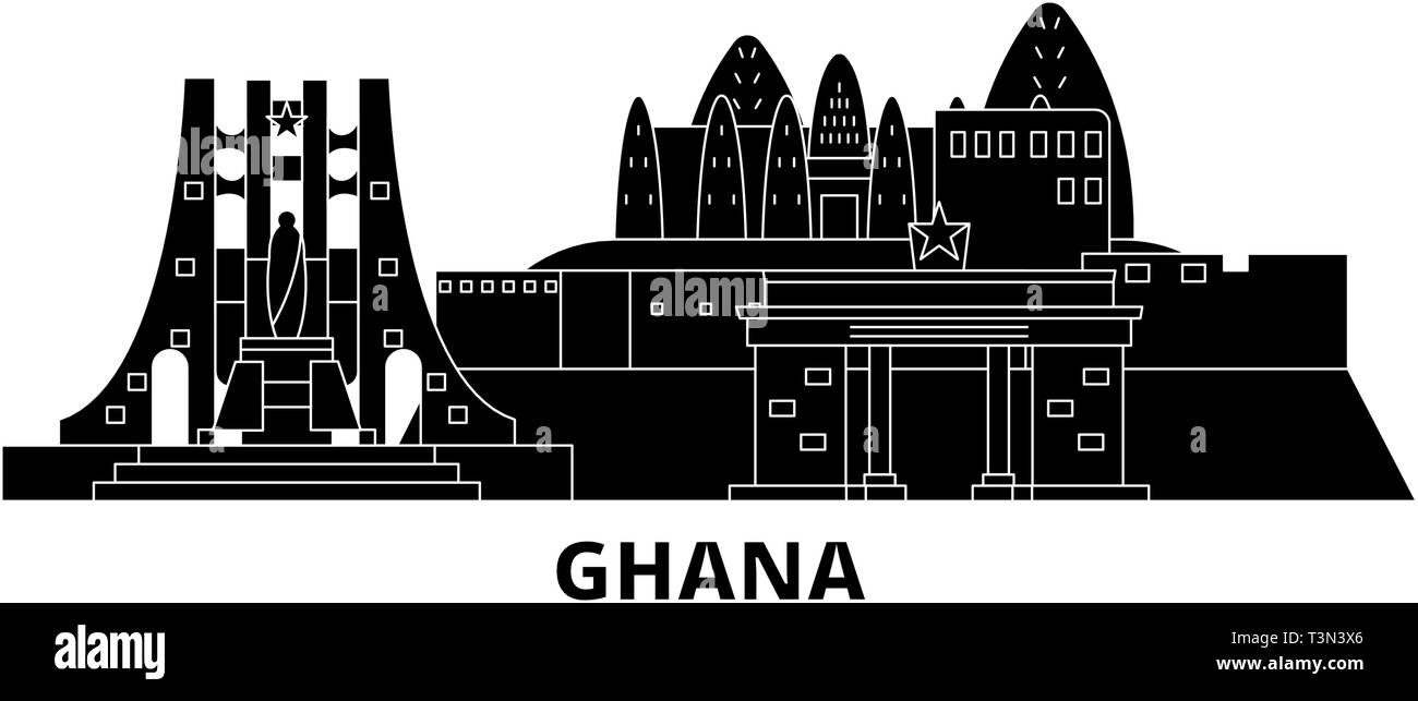 Ghana flat travel skyline set. Ghana black city vector illustration, symbol, travel sights, landmarks. - Stock Image