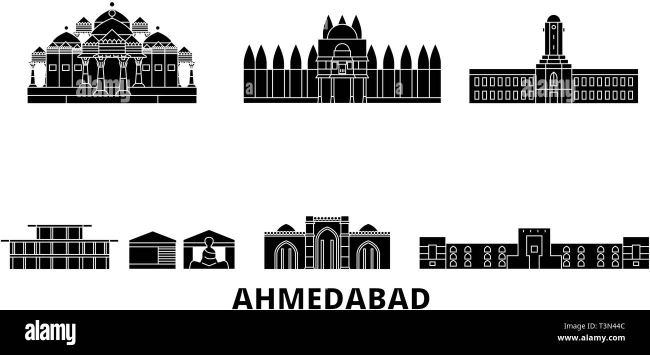 India, Ahmedabad flat travel skyline set. India, Ahmedabad black city vector illustration, symbol, travel sights, landmarks. - Stock Vector