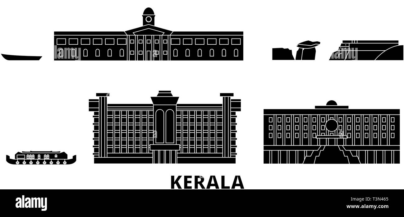 India, Kerala flat travel skyline set. India, Kerala black city vector illustration, symbol, travel sights, landmarks. Stock Vector