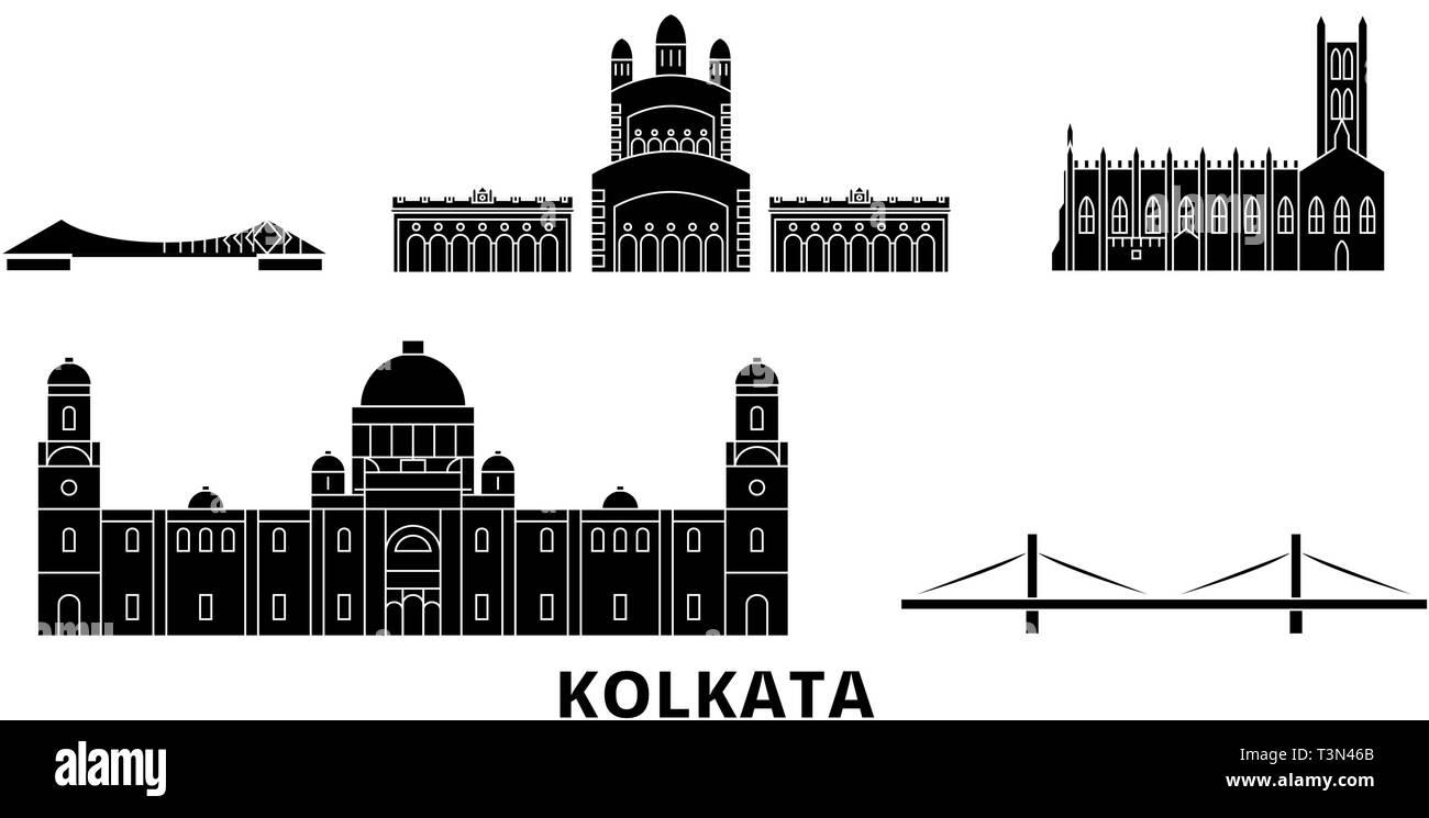 India, Kolkata flat travel skyline set. India, Kolkata black city vector illustration, symbol, travel sights, landmarks. - Stock Vector