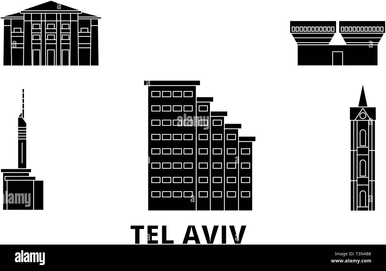 Istael, Tel Aviv flat travel skyline set. Istael, Tel Aviv black city vector illustration, symbol, travel sights, landmarks. - Stock Image