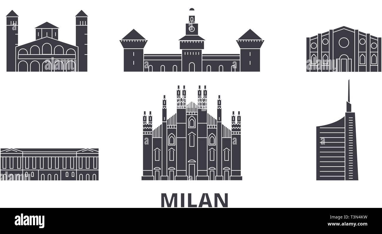 Italy, Milan flat travel skyline set. Italy, Milan black city vector illustration, symbol, travel sights, landmarks. - Stock Vector