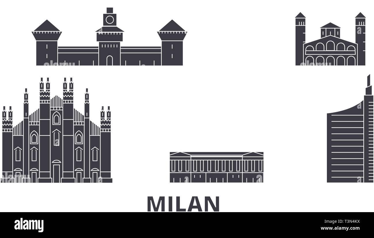 Italy, Milan City flat travel skyline set. Italy, Milan City black city vector illustration, symbol, travel sights, landmarks. - Stock Vector