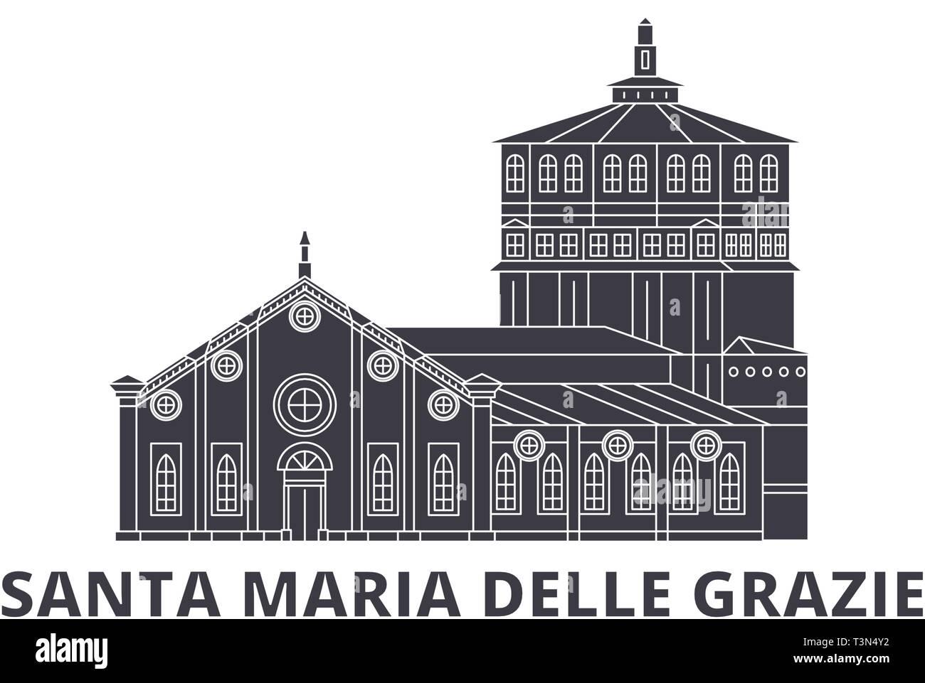 Italy, Santa Maria Delle Grazie flat travel skyline set. Italy, Santa Maria Delle Grazie black city vector illustration, symbol, travel sights - Stock Vector