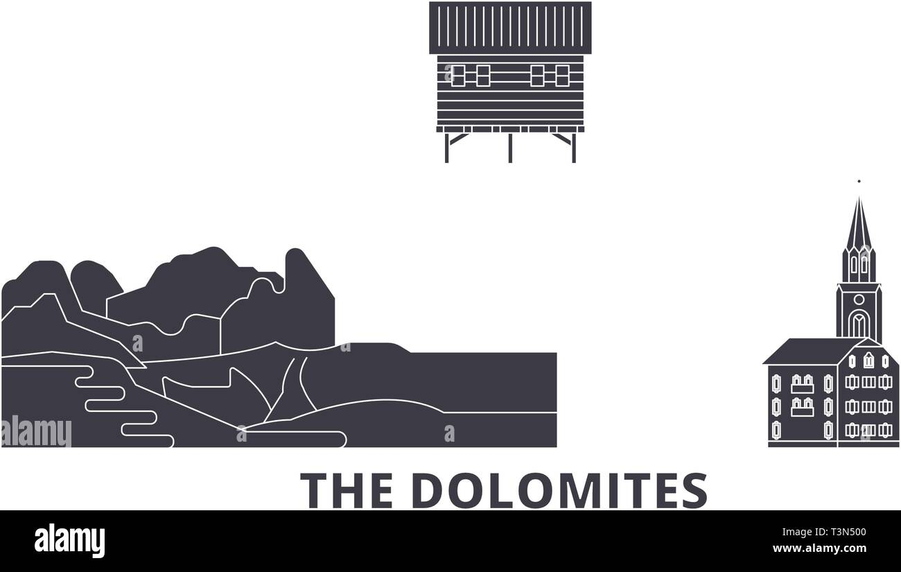 Italy, The Dolomites  flat travel skyline set. Italy, The Dolomites  black city vector illustration, symbol, travel sights, landmarks. - Stock Vector