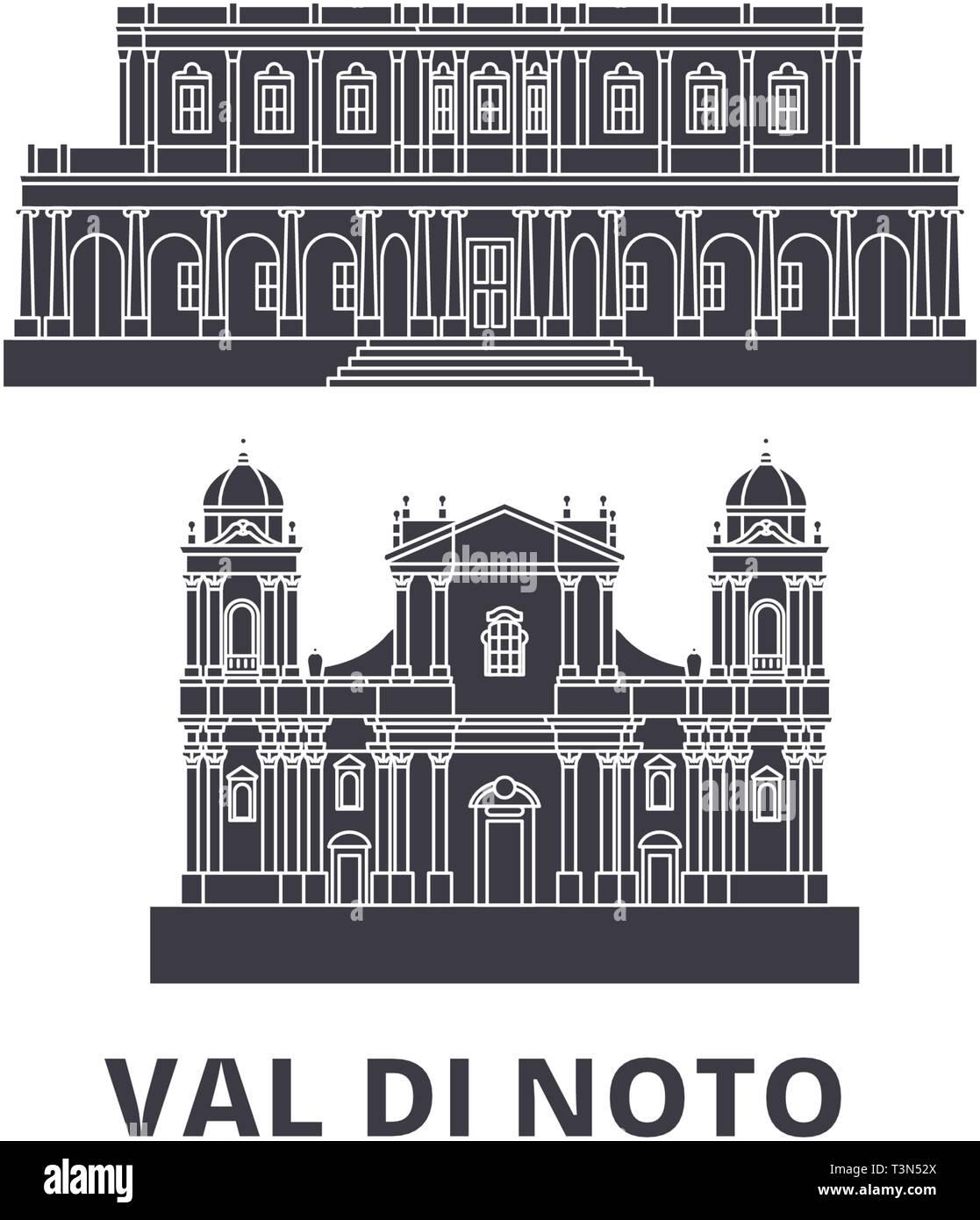 Italy, Val Di Noto flat travel skyline set. Italy, Val Di Noto black city vector illustration, symbol, travel sights, landmarks. - Stock Vector