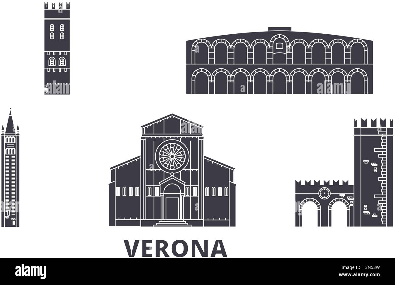 Italy, Verona flat travel skyline set. Italy, Verona black city vector illustration, symbol, travel sights, landmarks. - Stock Vector