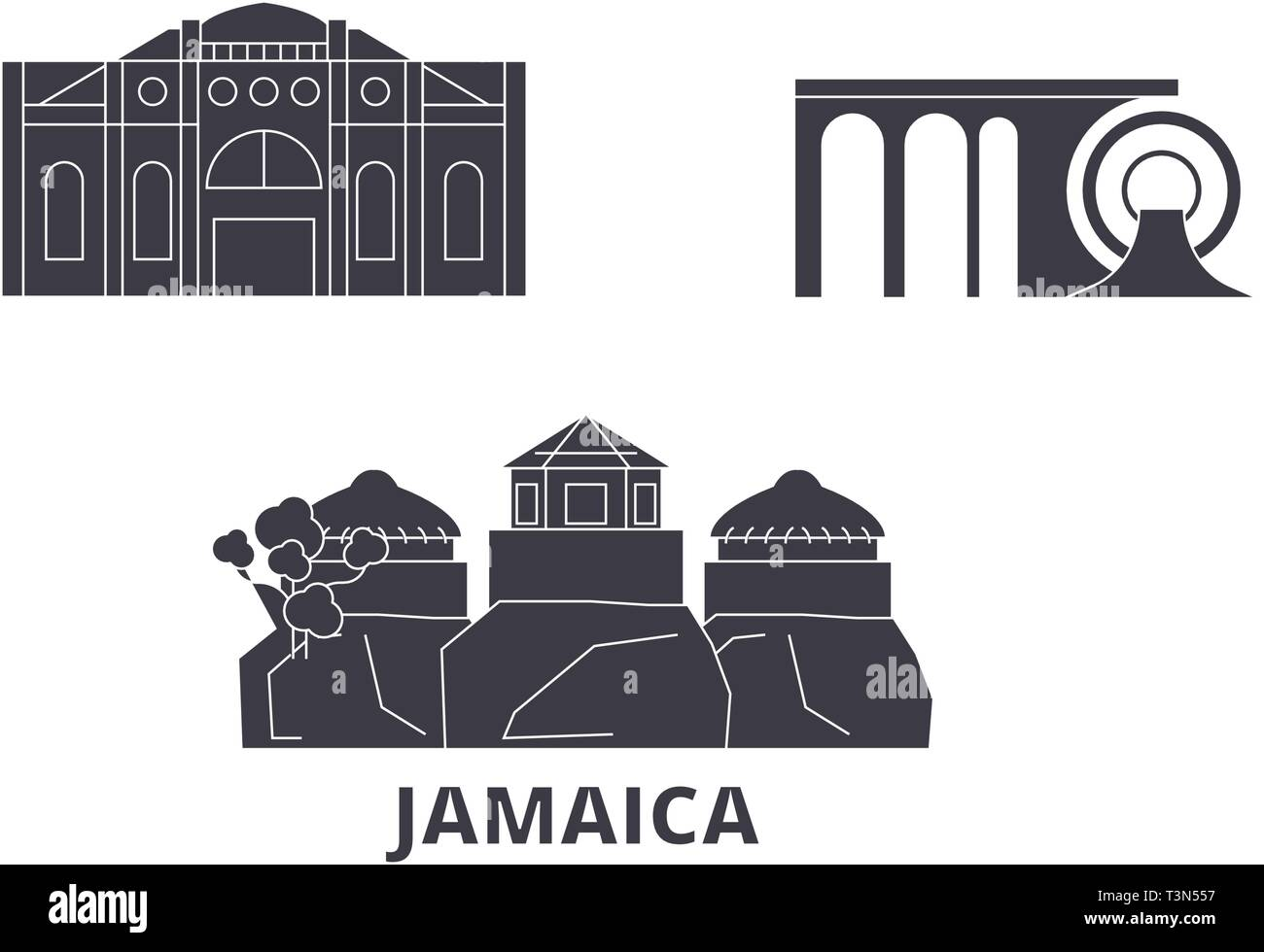 Jamaica flat travel skyline set. Jamaica black city vector illustration, symbol, travel sights, landmarks. - Stock Vector