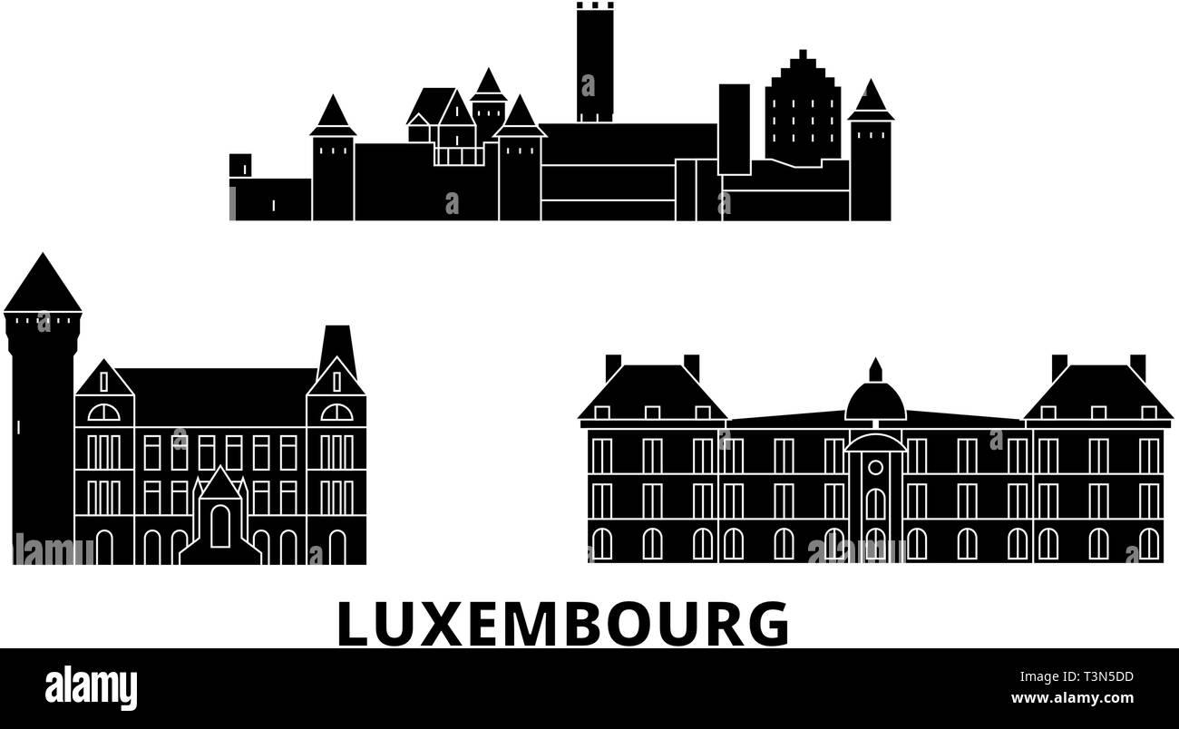 Luxembourg flat travel skyline set. Luxembourg black city vector illustration, symbol, travel sights, landmarks. - Stock Vector