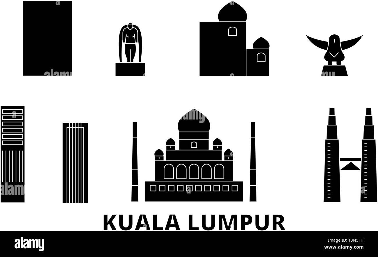 Malaysia, Kuala Lumpur flat travel skyline set. Malaysia, Kuala Lumpur black city vector illustration, symbol, travel sights, landmarks. - Stock Vector