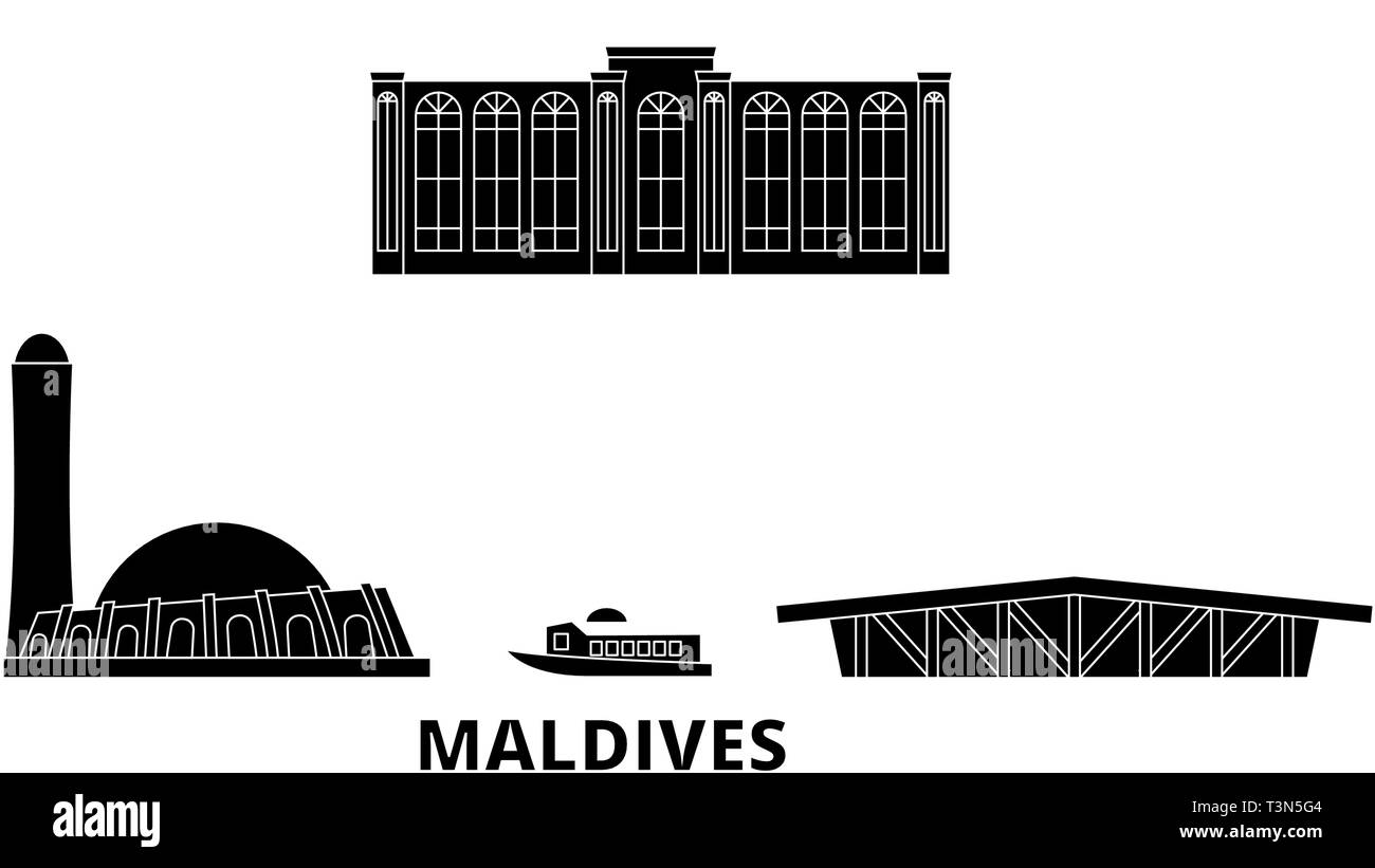 Maldives flat travel skyline set. Maldives black city vector illustration, symbol, travel sights, landmarks. - Stock Image