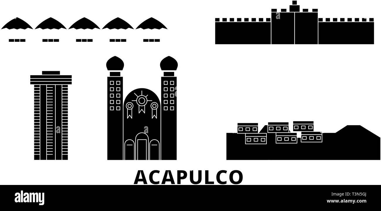 Mexico, Acapulco flat travel skyline set. Mexico, Acapulco black city vector illustration, symbol, travel sights, landmarks. - Stock Vector