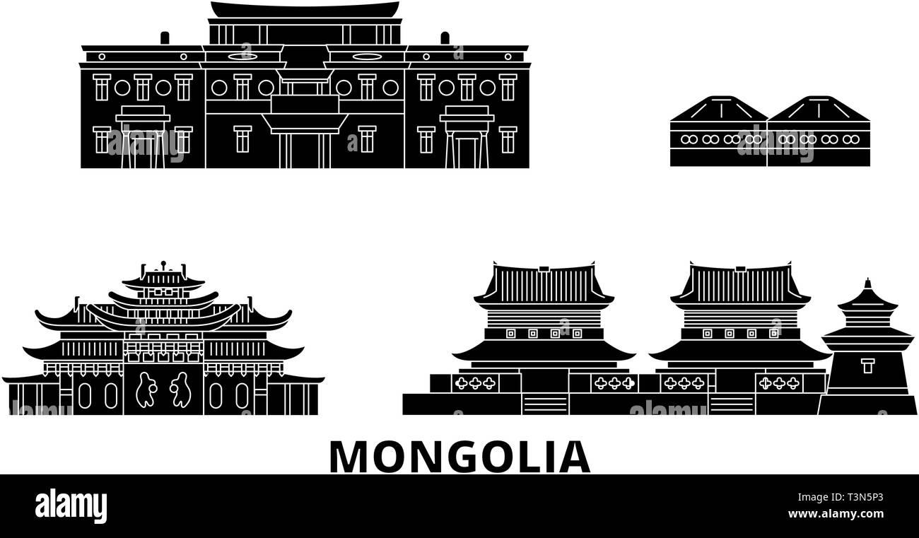 Mongolia flat travel skyline set. Mongolia black city vector illustration, symbol, travel sights, landmarks. - Stock Vector