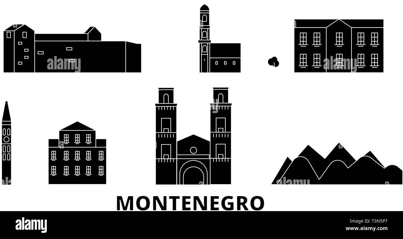 Montenegro flat travel skyline set. Montenegro black city vector illustration, symbol, travel sights, landmarks. - Stock Image