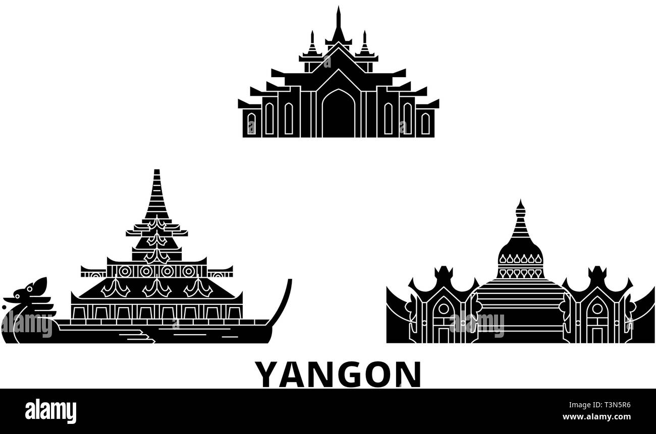 Myanmar, Yangon flat travel skyline set. Myanmar, Yangon black city vector illustration, symbol, travel sights, landmarks. - Stock Vector