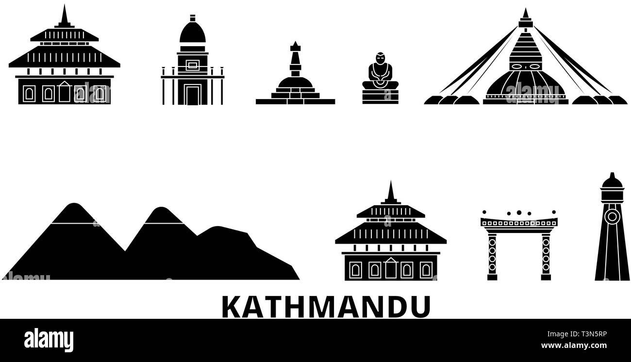 Nepal, Kathmandu flat travel skyline set. Nepal, Kathmandu black city vector illustration, symbol, travel sights, landmarks. - Stock Vector
