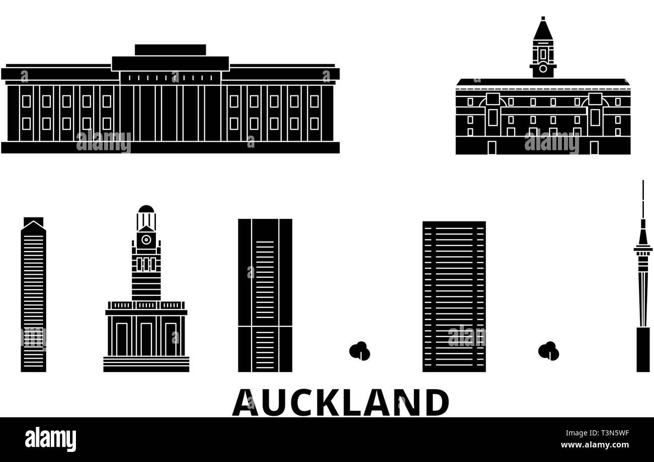New Zealand, Auckland flat travel skyline set. New Zealand, Auckland black city vector illustration, symbol, travel sights, landmarks. - Stock Image