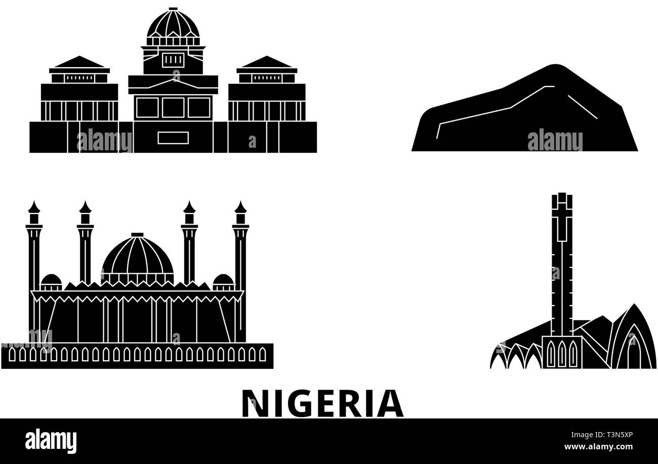 Nigeria flat travel skyline set. Nigeria black city vector illustration, symbol, travel sights, landmarks. - Stock Image
