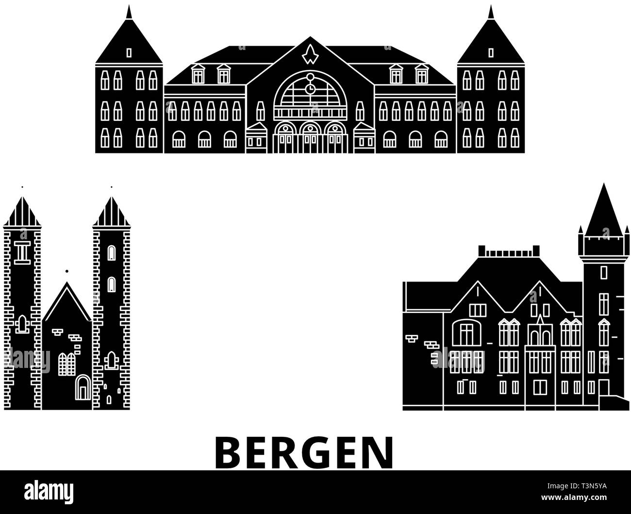 Norway, Bergen flat travel skyline set. Norway, Bergen black city vector illustration, symbol, travel sights, landmarks. - Stock Vector