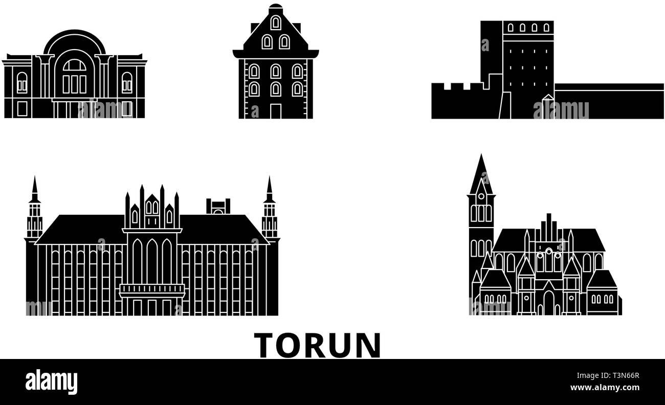Poland, Torun flat travel skyline set. Poland, Torun black city vector illustration, symbol, travel sights, landmarks. - Stock Image