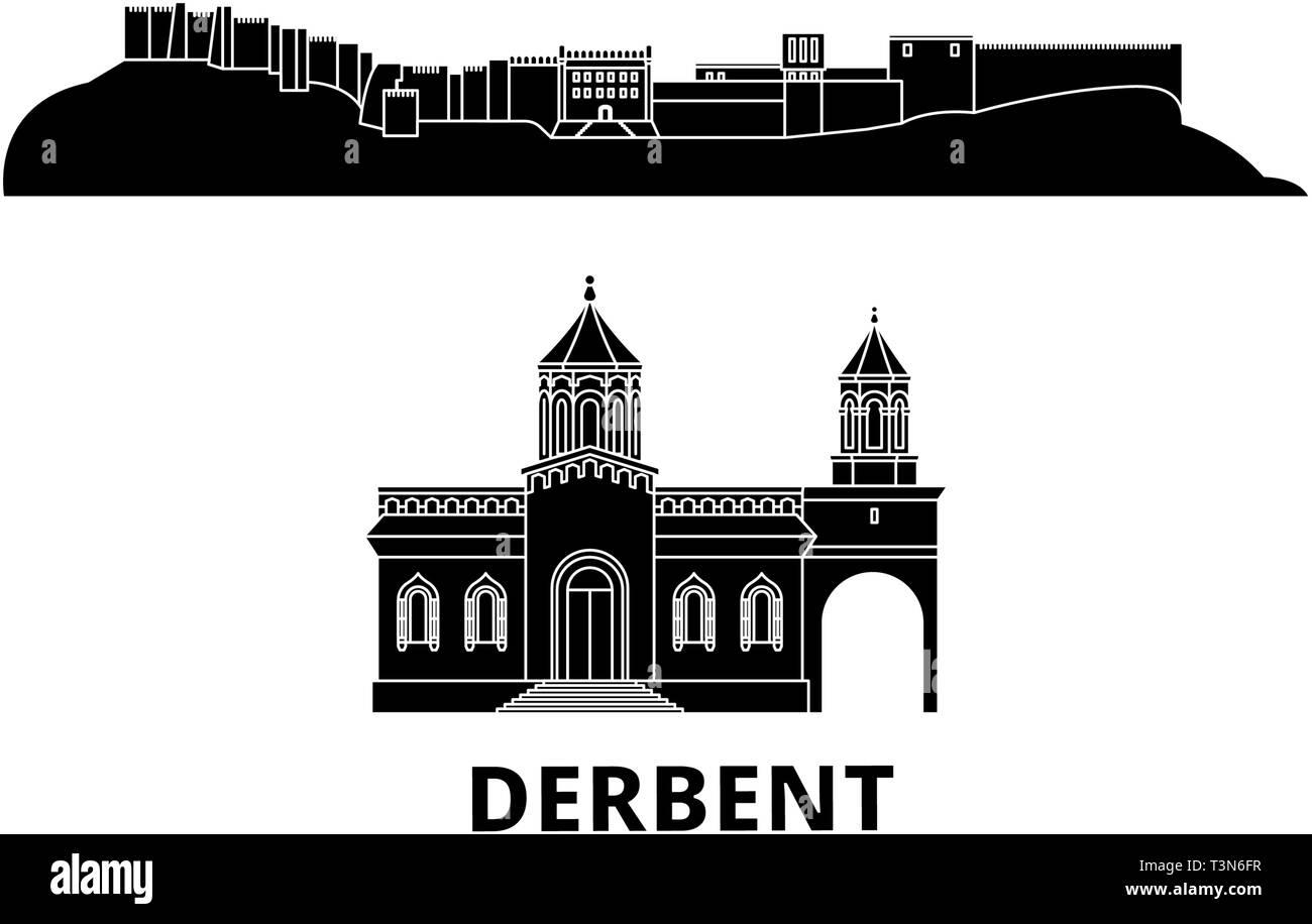 Russia, Derbent flat travel skyline set. Russia, Derbent black city vector illustration, symbol, travel sights, landmarks. - Stock Vector