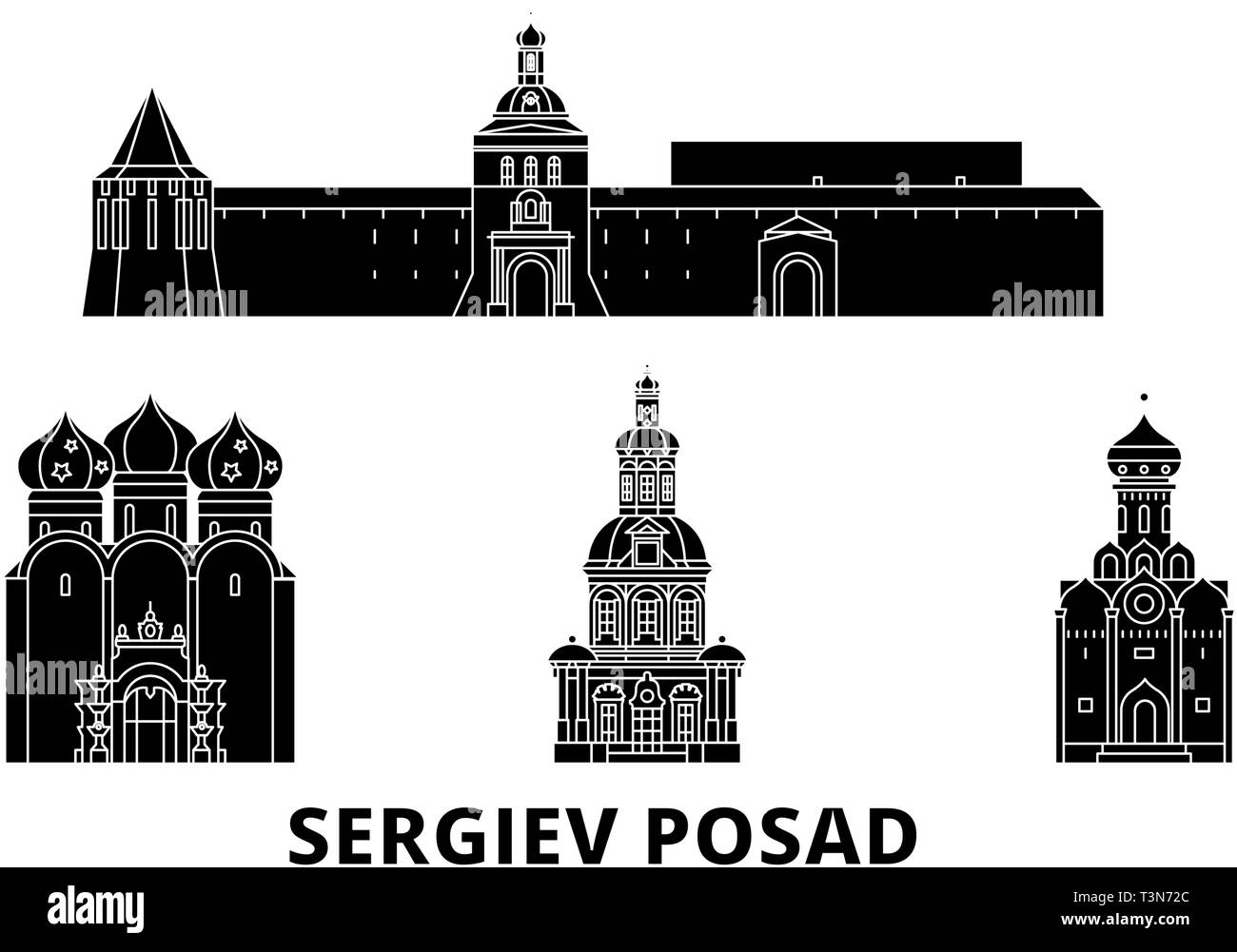 Russia, Sergiev Posad flat travel skyline set. Russia, Sergiev Posad black city vector illustration, symbol, travel sights, landmarks. - Stock Image