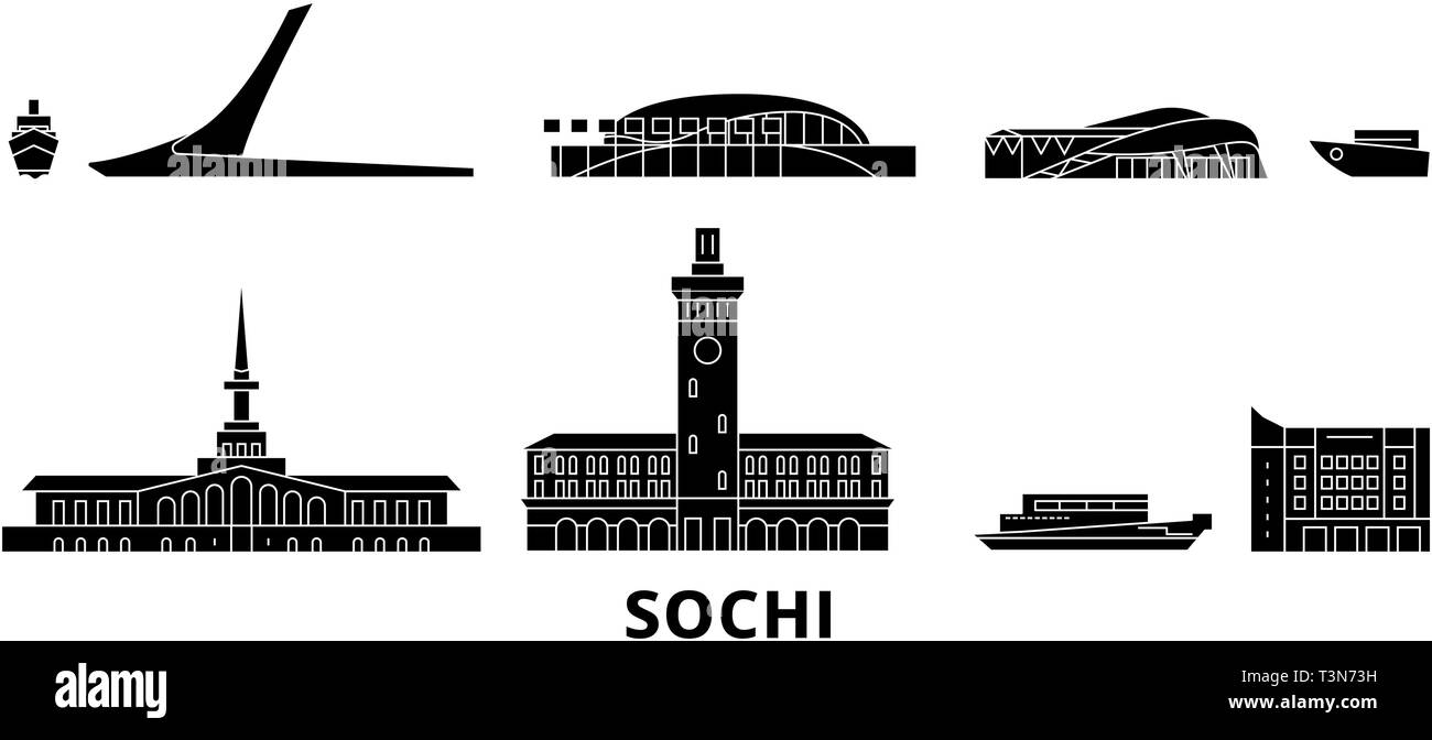Russia, Sochi flat travel skyline set. Russia, Sochi black city vector illustration, symbol, travel sights, landmarks. - Stock Vector