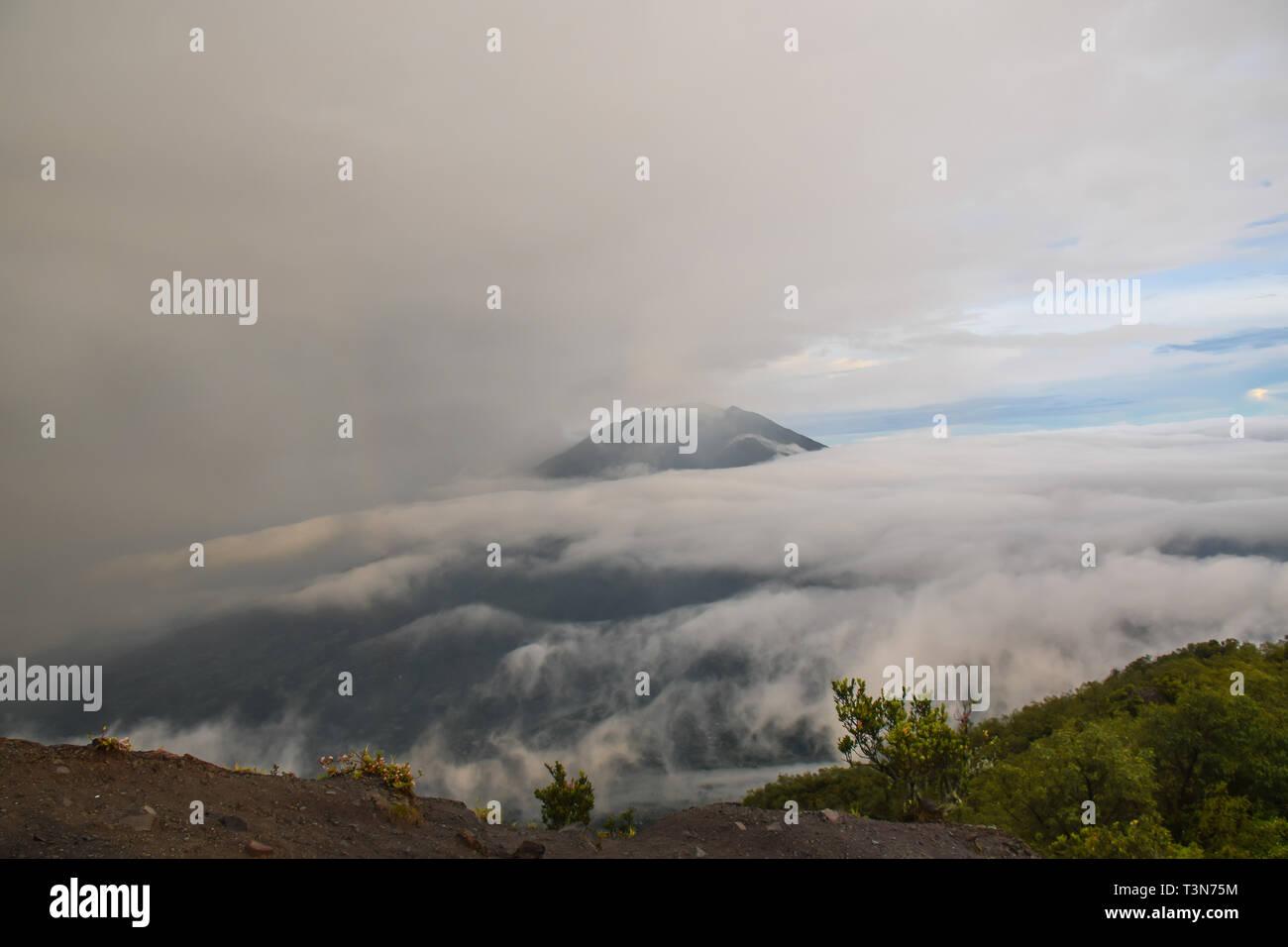 View on Merbabu from Merapi Volcano, Indonesia - Stock Image