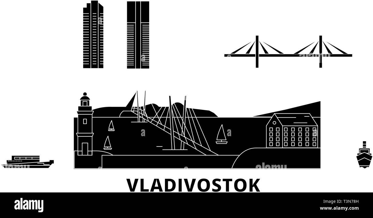 Russia, Vladivostok flat travel skyline set. Russia, Vladivostok black city vector illustration, symbol, travel sights, landmarks. - Stock Vector