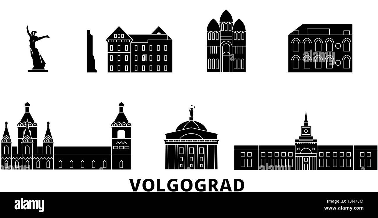 Russia, Volgograd flat travel skyline set. Russia, Volgograd black city vector illustration, symbol, travel sights, landmarks. - Stock Vector