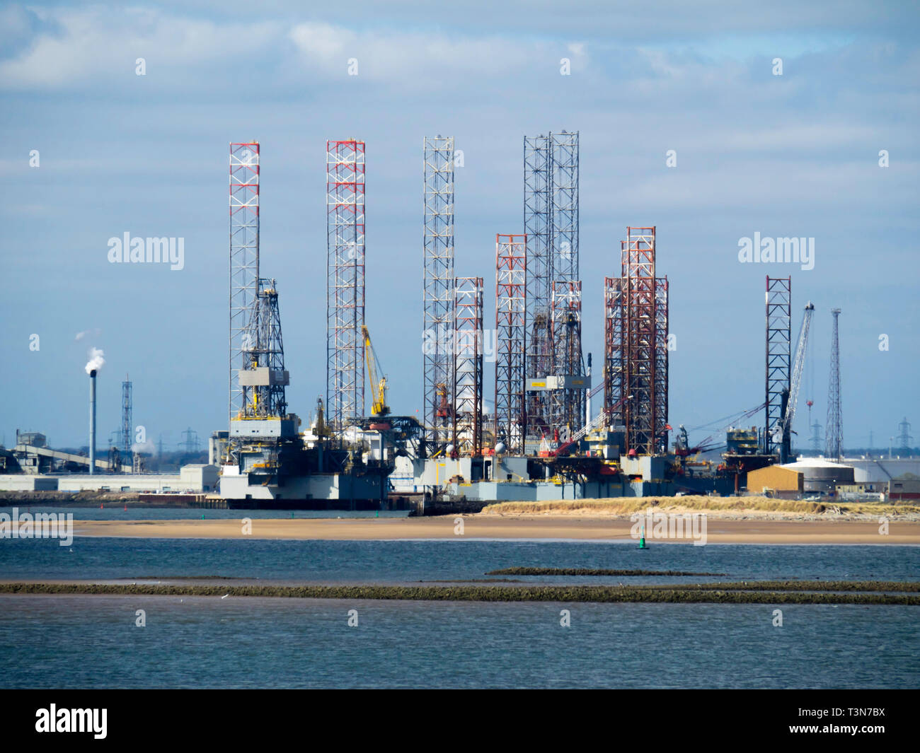 Jack Up drilling rigs at the TERRC Hartlepool  facility on the river Tees for storage  and repair Stock Photo