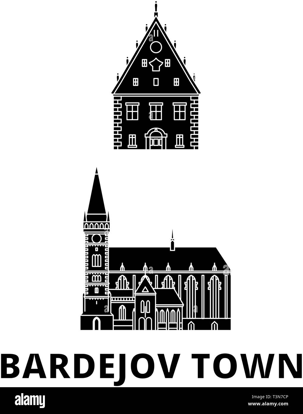 Slovakia, Bardejov Town flat travel skyline set. Slovakia, Bardejov Town black city vector illustration, symbol, travel sights, landmarks. - Stock Vector