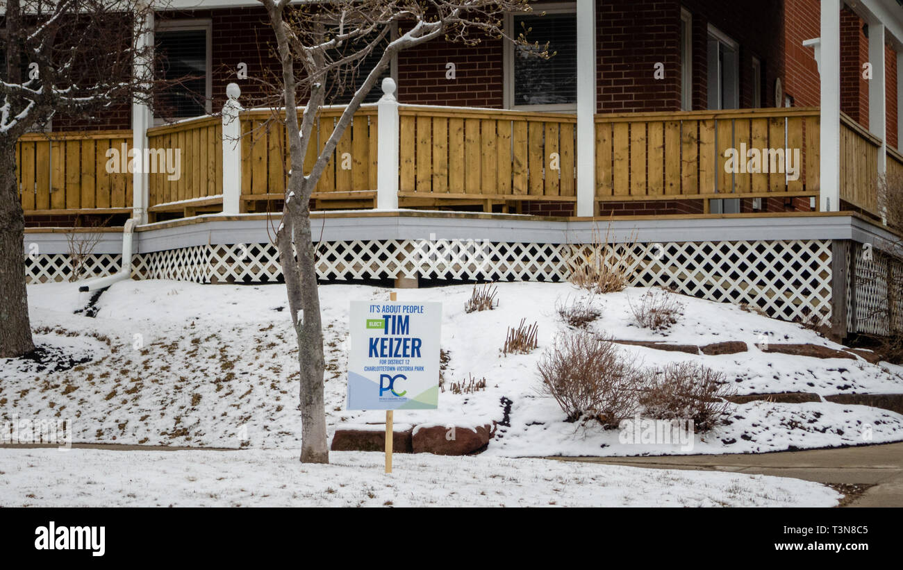 A sign on the street of Tim Keizer from Progressive Conservative Party of Prince Edward Island for provincial election 2019 - Stock Image