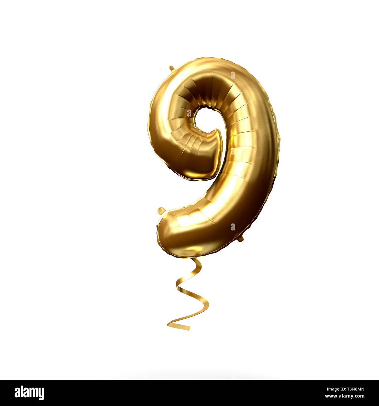Number 9 gold foil helium balloon isolated on a white background. 3D Render - Stock Image