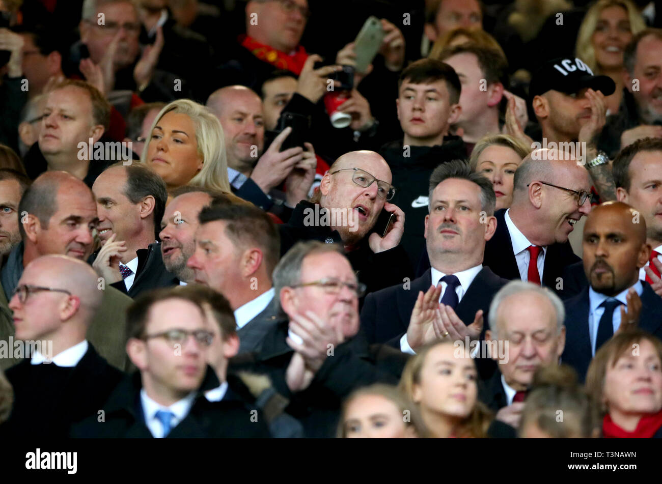 Manchester United Owner Avram Glazer Centre During The Uefa Champions League Quarter Final First Leg Match At Old Trafford Manchester Stock Photo Alamy
