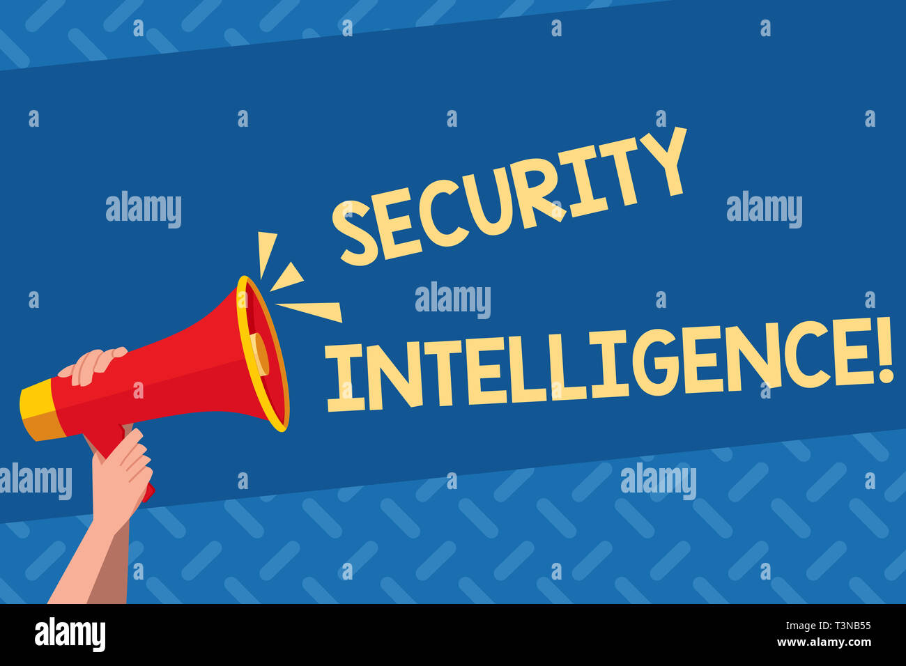 Handwriting text Security Intelligence. Conceptual photo protecting an organization from threats and risks Human Hand Holding Tightly a Megaphone with - Stock Image