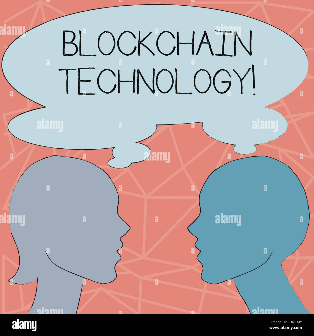 Conceptual hand writing showing Blockchain Technology. Concept meaning Manage the database that records Bitcoin transactions Silhouette Sideview Profi - Stock Image