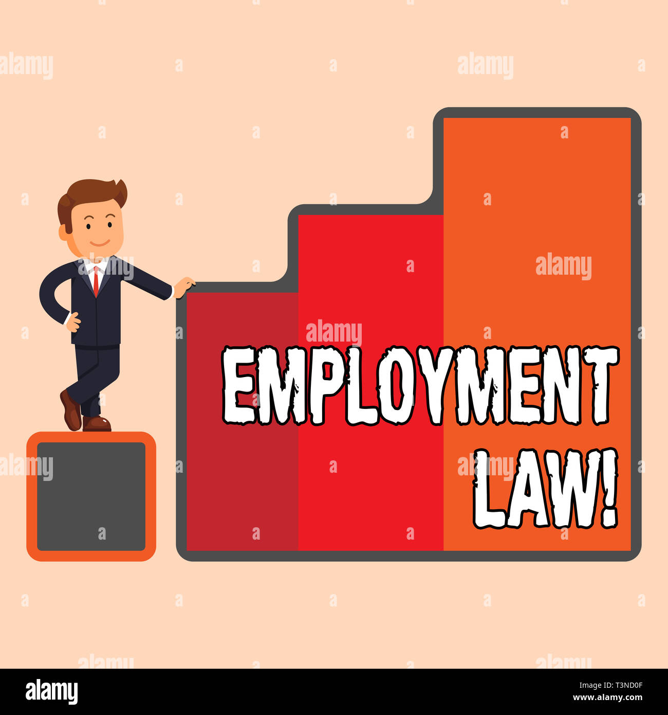 Handwriting text Employment Law. Conceptual photo encompassing all areas of employer employee relationship Happy Businessman Presenting Growth and Suc Stock Photo