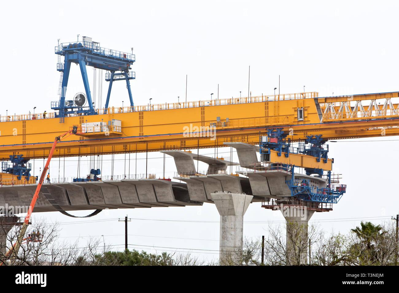 New Harbor Bridge construction, six-lane cable-stay, concrete segmental bridge. - Stock Image