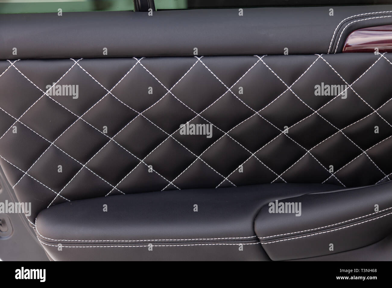 Interior Of A Luxury Car With Leather Interior Overtightened Stitching In The Form Of A Diamond Of White Thread At Door Trim In A Vehicle Repair Shop Stock Photo Alamy