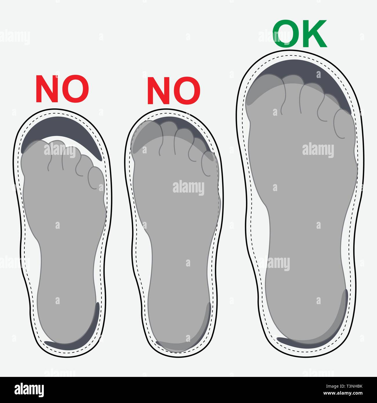 Bare foot on shoe sole with text - Stock Vector